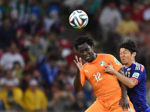 Wilfried Bony flying the flag for Swansea City at the World Cup