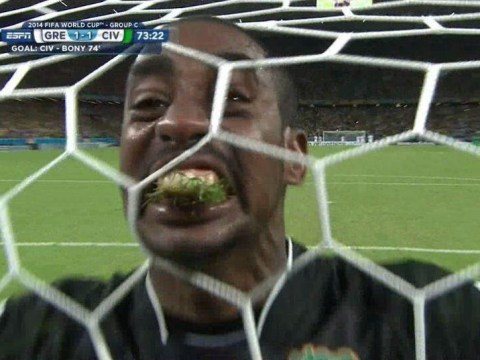 Yuck! Ivory Coast goalie Boubacar Barry caught eating grass during World Cup match