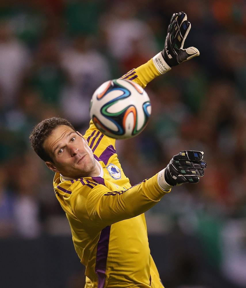 CHICAGO, IL - JUNE 03: Asmir Begovic #1 of Bosnia & Herzegovina makes a save in the second half against Mexico during an international friendly match at Soldier Field on June 3, 2014 in Chicago, Illinois. Bosnia & Herzegovia defeated Mexico 1-0. Jonathan Daniel/Getty Images