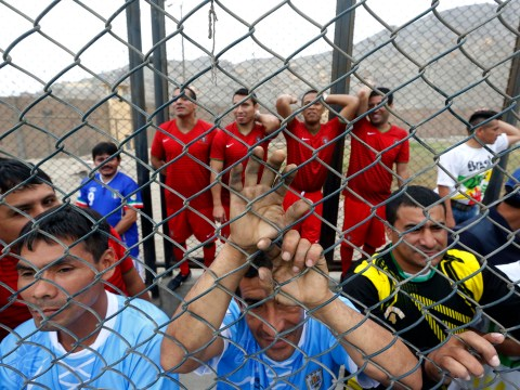 Football 'bad' boys get stuck into Prison World Cup 2014
