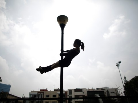 Mexican ladies go mad over urban pole dancing
