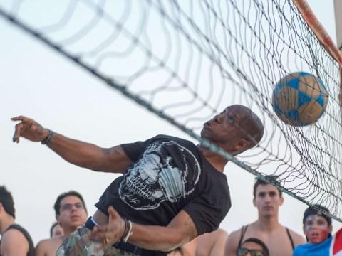 Just like Beckham: ITV World Cup Brazil 2014 pundits play beach footvolley on Ipanema beach in Rio de Janeiro
