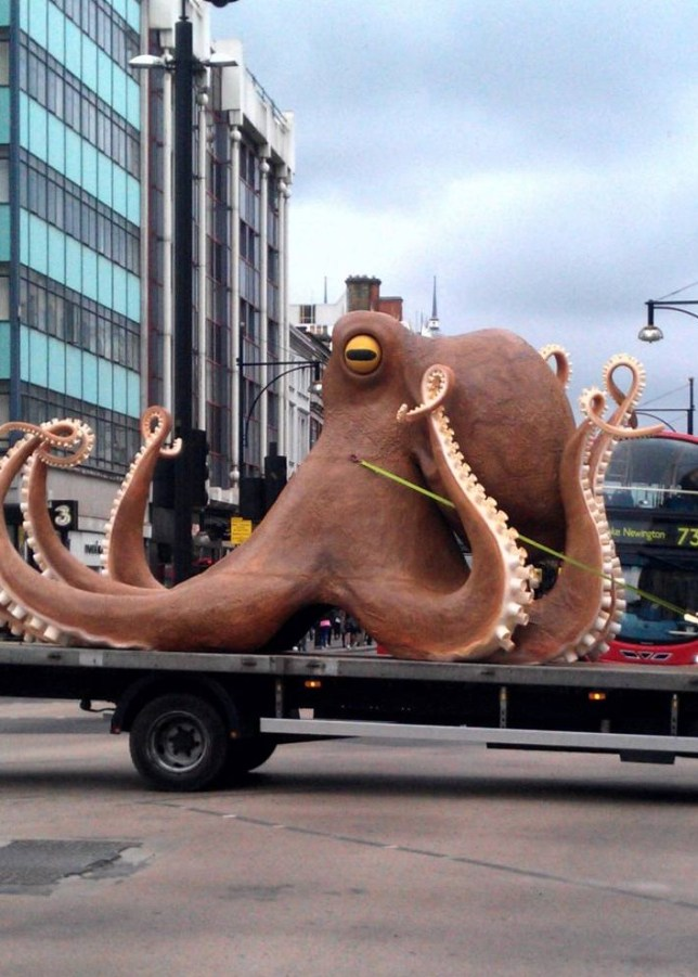 Mandatory Credit: Photo by Stephen Behan/REX (3786519b)  Lorry carrying a Giant Octopus sculpture breaks down in the middle of road  Lorry carrying a Giant Octopus sculpture breaks down on Oxford Street, London, Britain - 03 Jun 2014