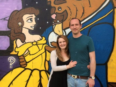 Street artist proposes to girlfriend by creating amazing Beauty And The Beast mural