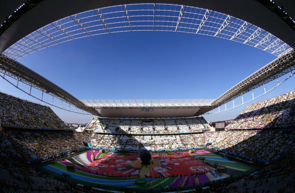 SAO PAULO, BRAZIL - JUNE 12:  A general view of the arena during the Opening Ceremony of the 2014 FIFA World Cup Brazil prior to the Group A match between Brazil and Croatia at Arena de Sao Paulo on June 12, 2014 in Sao Paulo, Brazil.  (Photo by Kevin Cox/Getty Images)