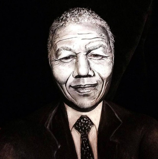Nelson Mandela make up complete  Make Up Artist Transforms Herself Into Famous Faces