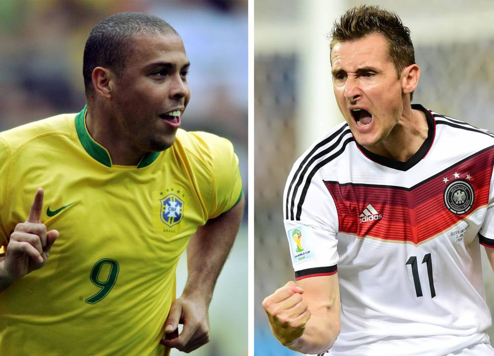 (FILES) A combination of file photos created on June 22, 2014 shows Brazilian forward Ronaldo (L) celebrating after scoring the game's first goal during the round of 16 World Cup football match between Brazil and Ghana at Dortmund's World Cup Stadium on June 27, 2006 and Germany's forward Miroslav Klose celebrating after scoring during a Group G football match between Germany and Ghana at the Castelao Stadium in Fortaleza during the 2014 FIFA World Cup on June 21, 2014. Germany on June 21, 2014 hailed its evergreen football hero Miroslav Klose after he equalled Ronaldo's record of 15 goals at World Cup finals with one of his most important strikes. AFP PHOTO / ROBERT SCHMIDT / JAVIER SORIANOJAVIER SORIANO/AFP/Getty Images