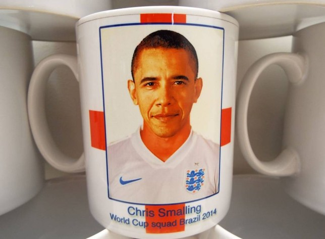 """Mandatory Credit: Photo by REX (3857160a)  Barack Obama mistaken for England defender Chris Smalling  Red Card: Barack Obama Mistaken for England Player on Souvenir Mug  Maybe the Leader of the Free World might have improved our chances?    A bumbling souvenir company deserve a red card - after mistaking Barack Obama for England player Chris Smalling on a memento mug.    The unnamed company - they're embarrassed - were keen to go top of the league with a range of merchandise for the World Cup.    But when they unpacked the 2,000 mugs featuring the faces of our brave - and underperforming - heroes, it was clear someone's footballing research skills were strictly non-league.    They turned to Dorset-based expert clearance resellers Wholesale Clearance UK to try and shift the stock that could have easily appeared in an Only Fools and Horses episode.    Karl Baxter MD for Wholesale Clearance says the company contacted him with the hope of off-loading the stock.    He now believes a junior member of staff could be facing demotion after being trusted with picture research.    Karl explains: """"The Dorset company in question (whose blushes we shall protect for now....maybe!) was given the seemingly easy job of sourcing royalty free pictures of each England squad player to use on the England mugs - along with other accompanying items such as England coasters, England mouse mats etc.    """"They passed this onto to their young, bright eyed and bushy tailed new apprentice. The designs were proofed and signed off by their Boss, who had clearly had a heavy night with the lads playing poker and before he'd had his first vat of coffee the following morning.    """"They immediately contacted us and 2,000 of the England items was dispatched to our warehouse. We eagerly unpacked them and, indeedm it turned out that the Chris Smalling cup had Barack Obama's head on instead of Chris's.""""    Wholesale Clearance is now...  For more information visit http://www.rexfeatures.com/stacklink/BQISITBXW"""