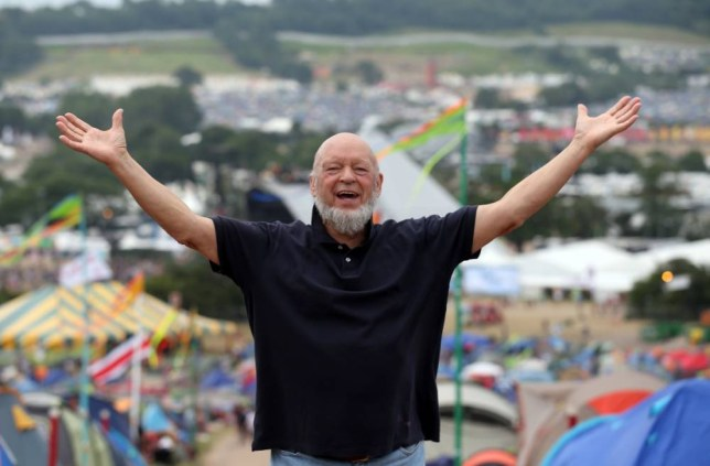 GLASTONBURY, ENGLAND - JUNE 30:  Glastonbury Festival founder Michael Eavis gestures as he holds a press conference at the Glastonbury Festival of Contemporary Performing Arts site at Worthy Farm, Pilton on June 30, 2013 near Glastonbury, England. Gates opened on Wednesday at the Somerset diary farm that will be playing host to one of the largest music festivals in the world and this year features headline acts Artic Monkeys, Mumford and Sons and the Rolling Stones. Tickets to the event which is now in its 43rd year sold out in minutes and that was before any of the headline acts had been confirmed. The festival, which started in 1970 when several hundred hippies paid 1 GBP to watch Marc Bolan, now attracts more than 175,000 people over five days.  (Photo by Matt Cardy/Getty Images)