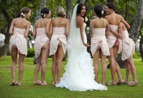 Assured it. Bride and bridesmaid flashing simply