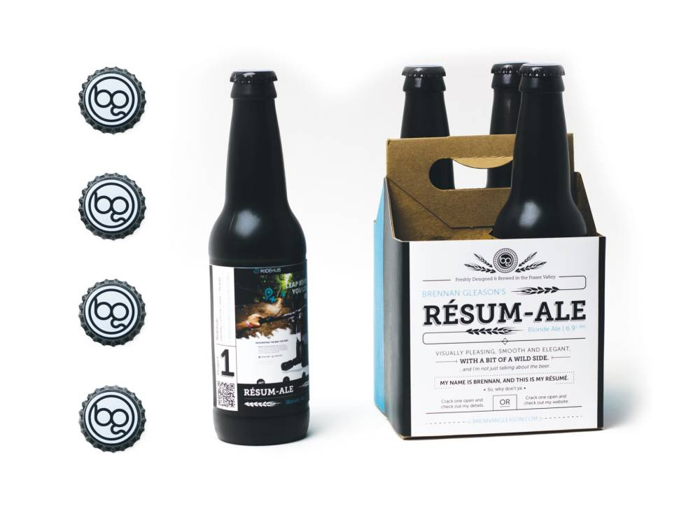 PIC BY BRENNAN GLEASON / CATERS NEWS - (PICTURED: CV ALE) - A jobseeker has come up with a CRAFT-y was of attracting employers - by printing his CV on packs of beer. Graphic designer Brennan Gleason created the unique ad earlier this year when he was given a university assignment to create self-promotion. So inventive Brennan printed his CV on to case of his homemade ale as well as putting an example of his work on each bottle. After finishing his studies at the University of the Fraser Valley in B.C., Canada, he sent out three cases to companies - receiving job offers right away. He ended up securing a full-time contract with a digital marketing agency who were impressed by his creativity and the quality of his ale. SEE CATERS COPY
