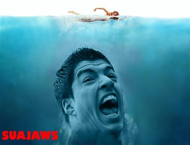 Suarez as a shark... obviously  (Picture: Twitter)