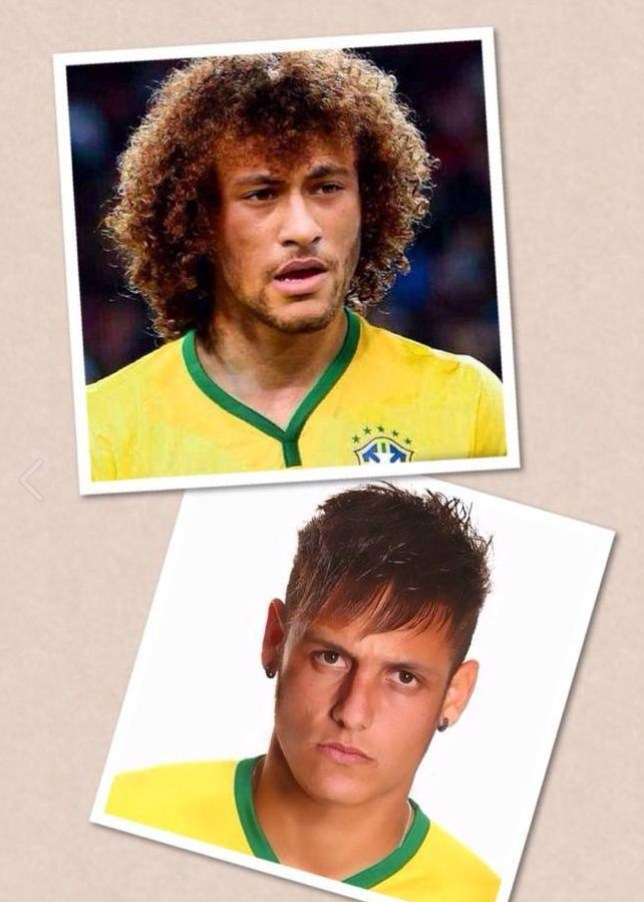 David Luiz and Neymar try out each other's hairstyles (Picture: David Luiz official Facebook)