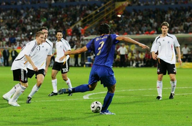 Fabio Grosso shapes up to score Italy's first goal against Germany in the 2006 World Cup semi-final in Dortmund (Picture: Getty)