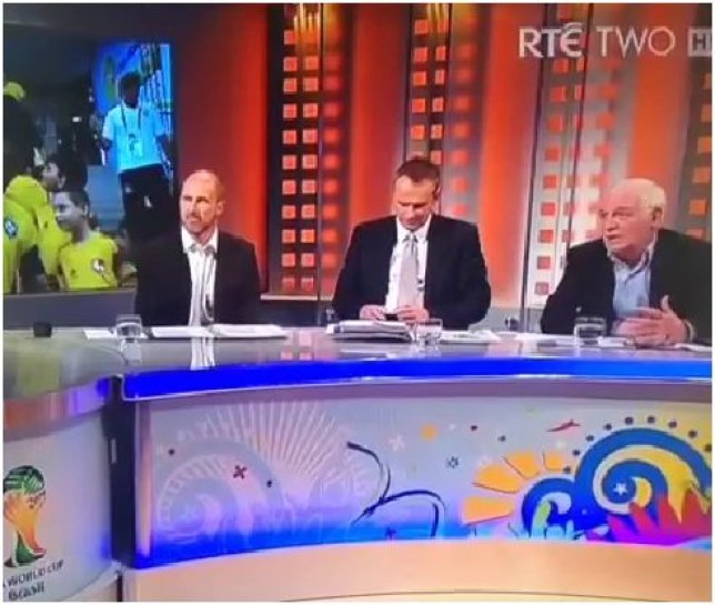 Whoops: Eamon Dunphy and the gang (Picture: RTE)