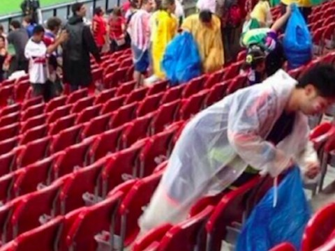 World Cup 2014: Japan fans clear up litter after opening defeat to Ivory Coast