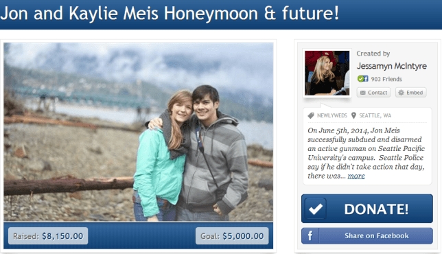 The gofundme page set up for the Meis honeymoon (Picture: gofundme)