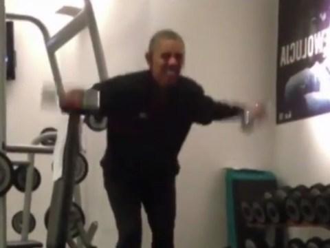 President Barack Obama pumps iron at Polish gym