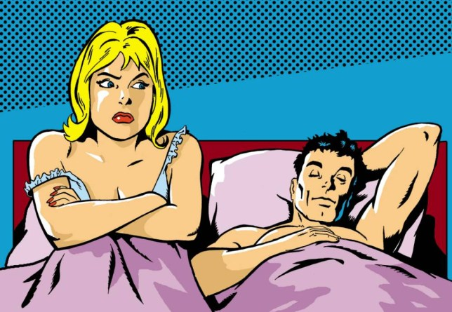 Drawing of a married couple in bed to illustrate feature on: An emotional affair, after a book called Emotional Infideltiy by Florida-based psychotherapist M. Gary Neuman.   fml-dv1096051.jpg