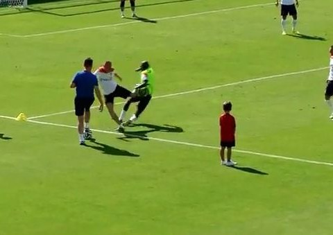 Arjen Robben kicks out at Bruno Martins Indi after heavy challenge in Netherlands World Cup training