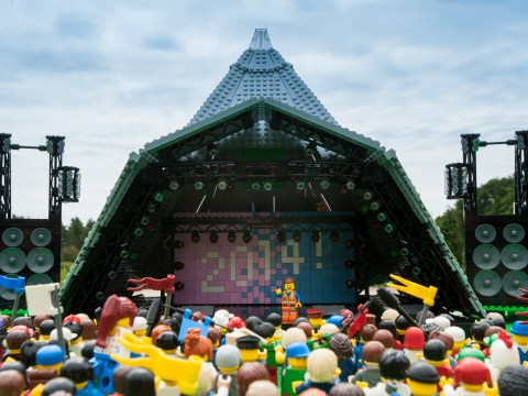 Everything is awesome for The Lego Movie's Emmett as he takes to the Glastonbury stage