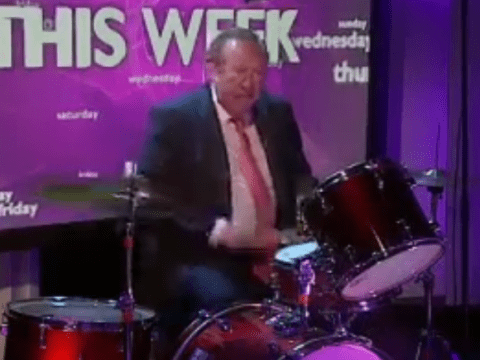 No, that's not the Cadbury Gorilla on the drums: it's BBC presenter Andrew Neil