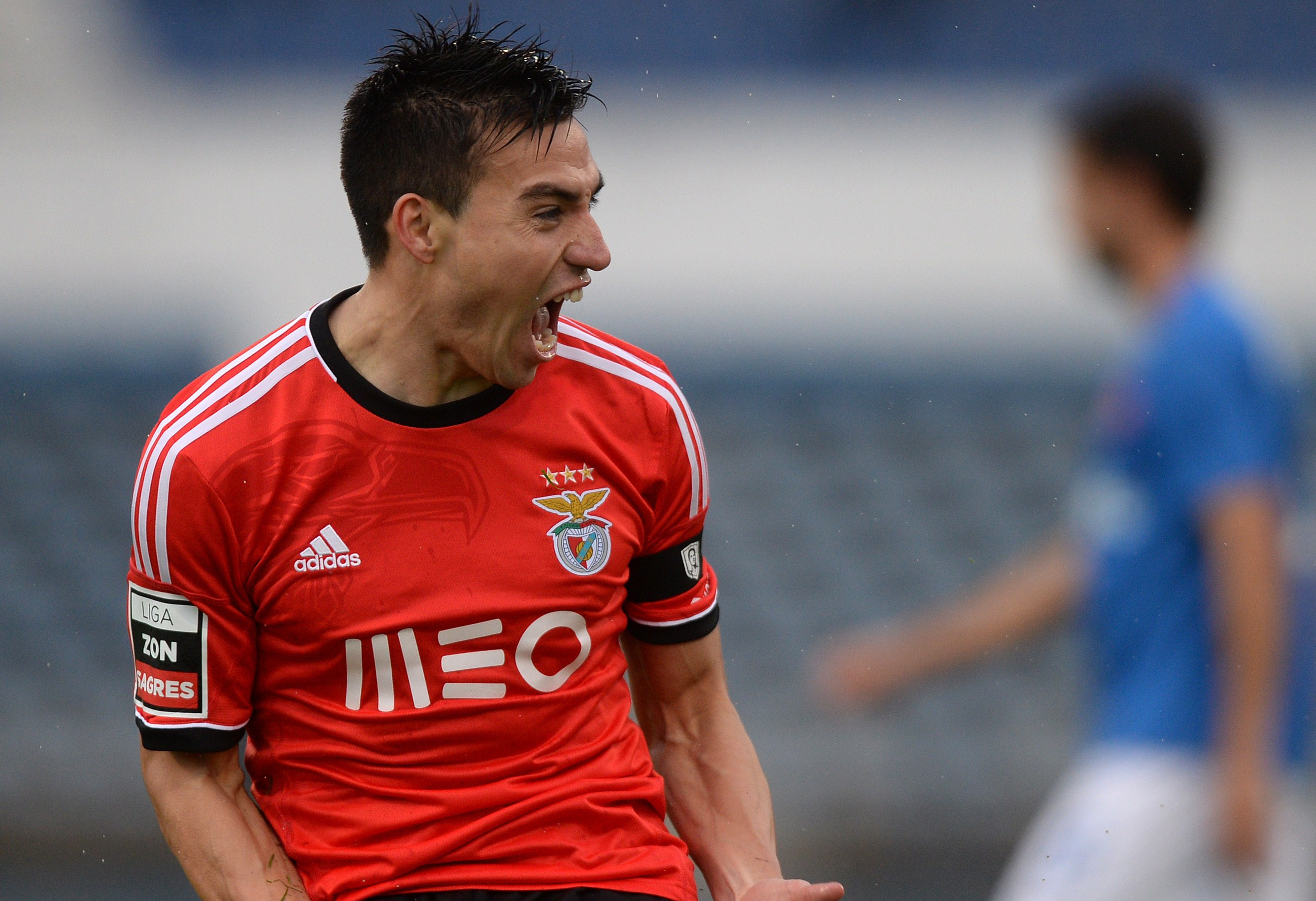Benfica's Argentinian forward Nicolas Gaitan celebrates scoring the opening goal during the Portuguese league football match OS Belenenses vs SL Benfica at the Restelo stadium in Lisbon on March 2, 2014. AFP PHOTO/ FRANCISCO LEONG (Photo credit should read FRANCISCO LEONG/AFP/Getty Images)
