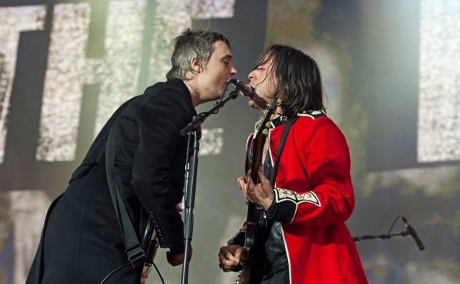 Pete Doherty and Carl Barat of The Libertines at Hyde Park (Picture: EPA)