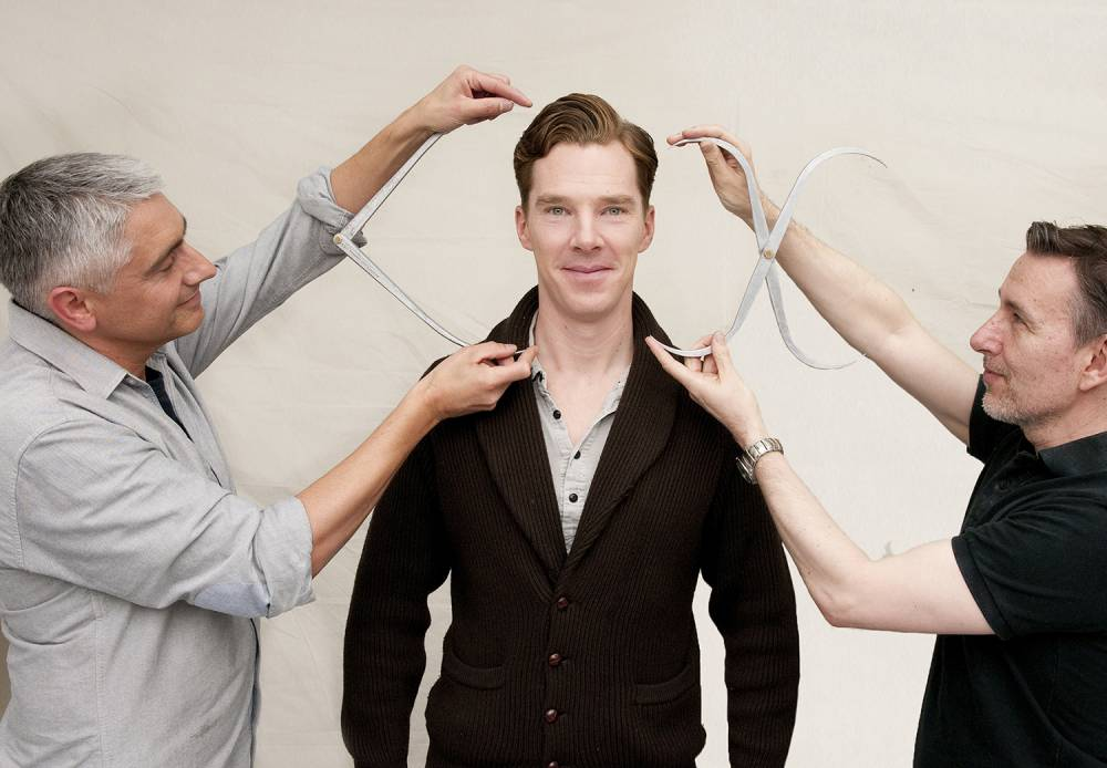 Undated handout photo issued by Madame Tussauds  of Sherlock actor Benedict Cumberbatch as he is measured up for his wax figure. PRESS ASSOCIATION Photo. Issue date: Monday July 21, 2014. His figure will be dressed for the red carpet in a stylish dark suit and is due to be unveiled at the London attraction in October. See PA story SHOWBIZ Cumberbatch. Photo credit should read: Madame Tussauds /PA Wire NOTE TO EDITORS: This handout photo may only be used in for editorial reporting purposes for the contemporaneous illustration of events, things or the people in the image or facts mentioned in the caption. Reuse of the picture may require further permission from the copyright holder.