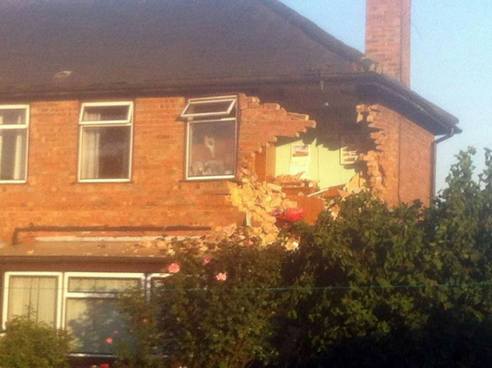 Car flies through the air and crashes into house in Lincolnshire