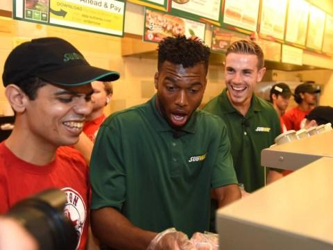 Liverpool duo Daniel Sturridge and Jordan Henderson get their hands dirty in Subway