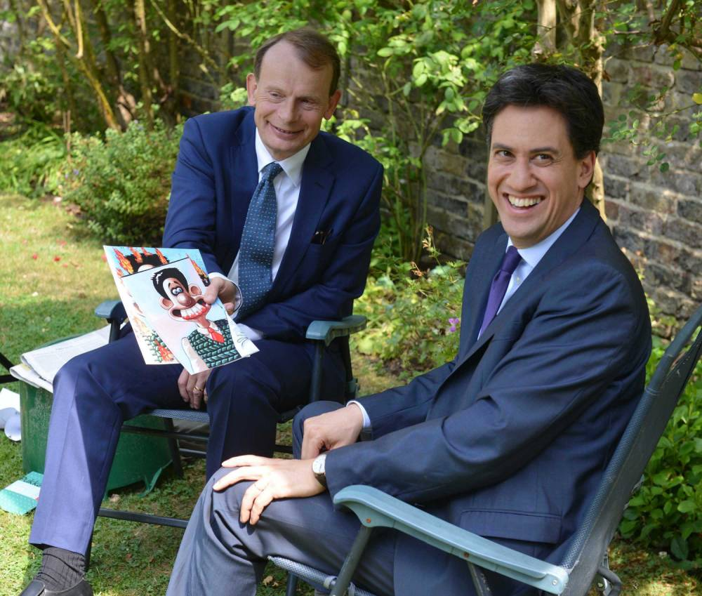 Andrew Marr hands Ed Miliband Wallace caricatures – awkwardness ensues
