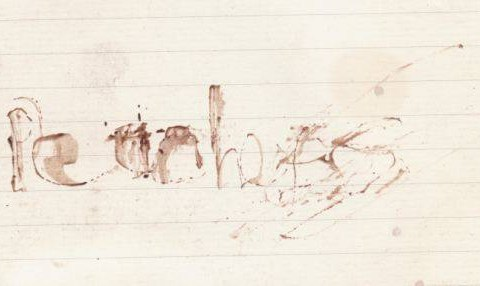 Haunting 'Peaches' note written with syringe and her own blood