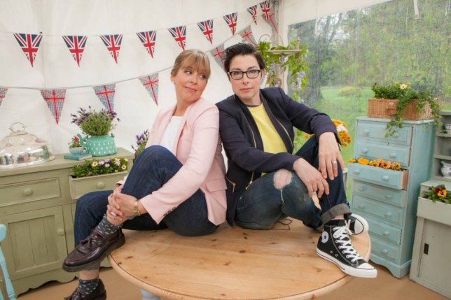 For use in UK, Ireland or Benelux countries only. Undated BBC handout photo of hosts of The Great British Bake Off Mel Giedroyc (left) and Sue Perkins (right). The fifth series of the show will air on BBC1 next month. PRESS ASSOCIATION Photo. Issue date: Tuesday July 29, 2014. See PA story SHOWBIZ Bake. Photo credit should read: Mark Bourdillon/BBC/PA Wire WARNING: Use of this copyright image is subject to the terms of use of BBC Pictures' Digital Picture Service (BBC Pictures) as set out at www.bbcpictures.co.uk. In particular, this image may only be published by a registered User of BBC Pictures for editorial use for the purpose of publicising the relevant BBC programme, personnel or activity during the Publicity Period which ends three review weeks following the date of transmission and provided the BBC and the copyright holder in the caption are credited. For any other purpose whatsoever, including advertising and commercial, prior written approval from the copyright holder will be required.