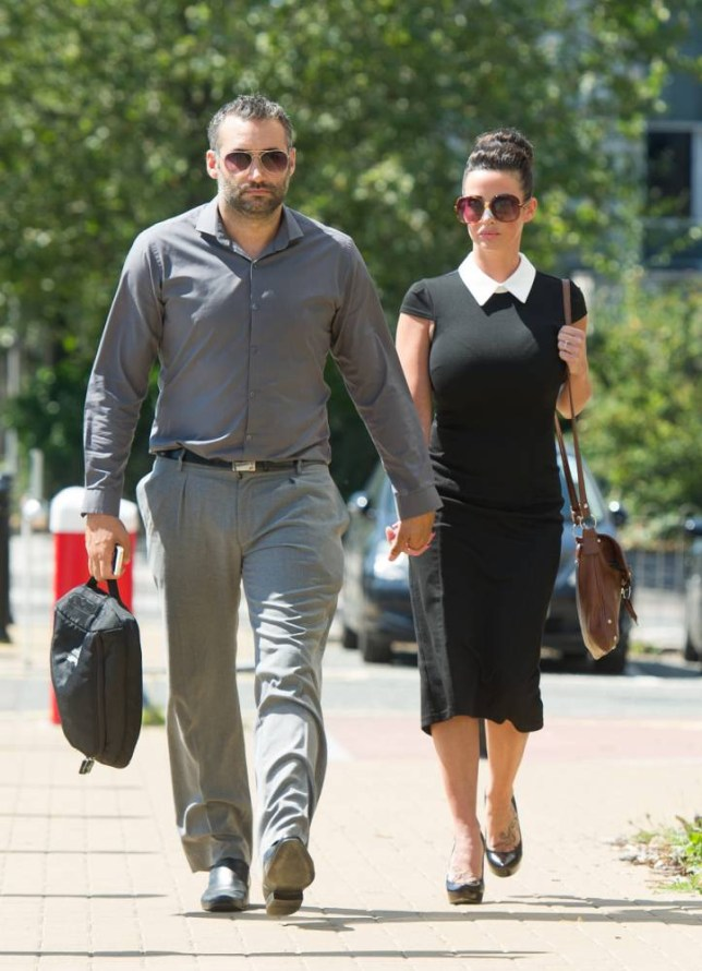 ©Nick Razzell 29.07.14 M) 07976 449 585 Ref:nxrnPic shows: Dane Bowers, 34, (L) and his fiancee Sophia Cahill, 30, (R) arriving at Croydon Magistrates Court in London today where her ex-boyfriend, Welsh Rubgy Union player Ian Gough, 37, is charged with assault at their house in Kingswood Way, South Croydon, South London  - see story nPic by: Nick Razzell