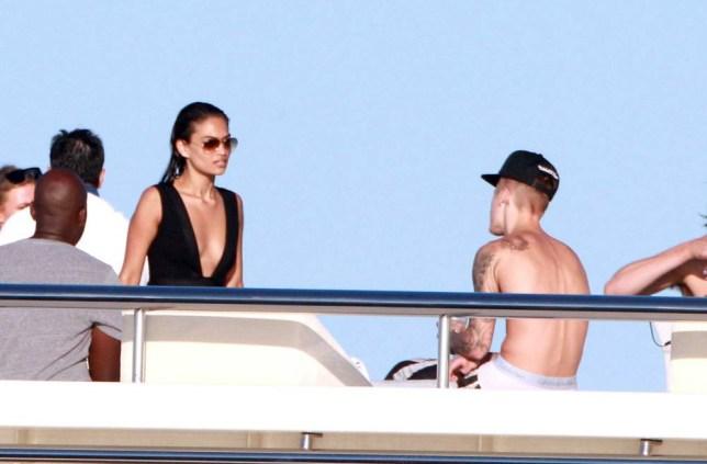 Mandatory Credit: Photo by Olycom SPA/REX (4006567q)  Justin Bieber and friend  Justin Bieber and Michelle Rodriguez, Ibiza, Spain - 30 Jul 2014