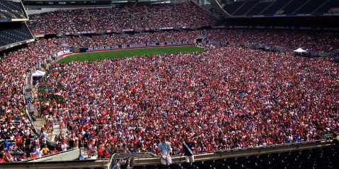 Incredible scenes as 28,000 USA fans gather at Solider Field to watch World Cup clash