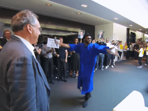 These employees really do love their boss: watch their amazing final farewell to him