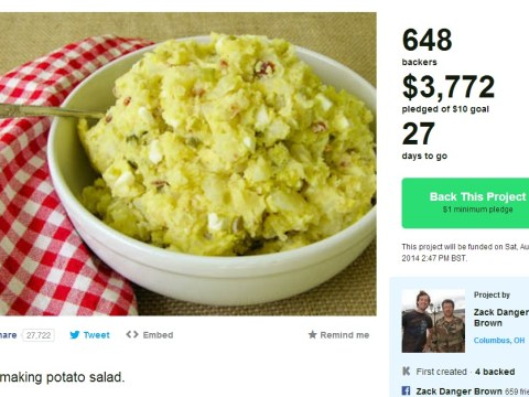That potato salad Kickstarter has now raised over $3,000 and Zack Danger Brown wants to throw a party