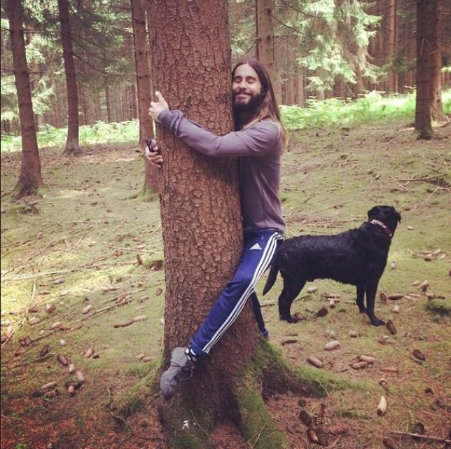 Tree Huggin Hippy Jared hugging Leto instagram