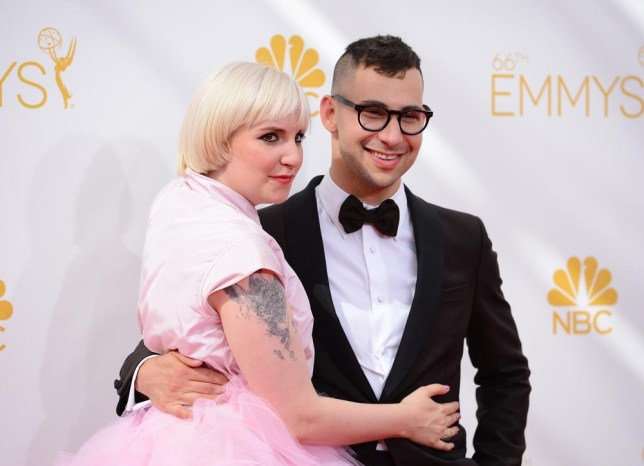 Lena Dunham, left, and Jack Antonoff arrive at the 66th Annual Primetime Emmy Awards at the Nokia Theatre L.A. Live on Monday, Aug. 25, 2014, in Los Angeles. (Photo by Jordan Strauss/Invision/AP) Jordan Strauss/Invision/AP