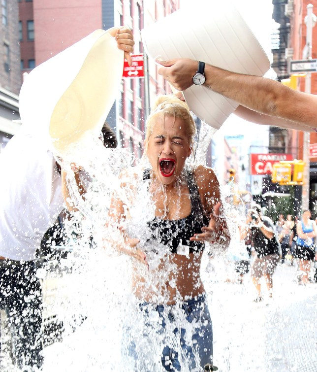 Rita Ora does the Ice Bucket Challenge on the NYC Streets, New York, America - 18 Aug 2014. Photo by Broadimage/REX