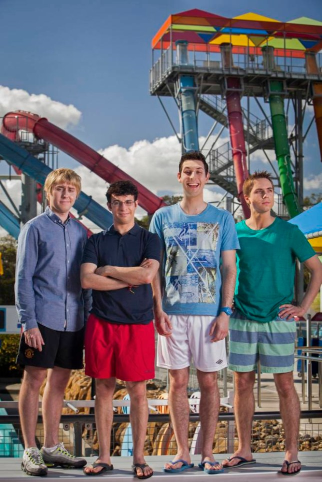 Publicity stills photography on the set of The Inbetweeners movie 'The Long Goodbye' L-R:  ?James Buckley, Simon Bird, Blake Harrison and Joe Thomas. L-R (character names): Will, Simon, Jay and Neil