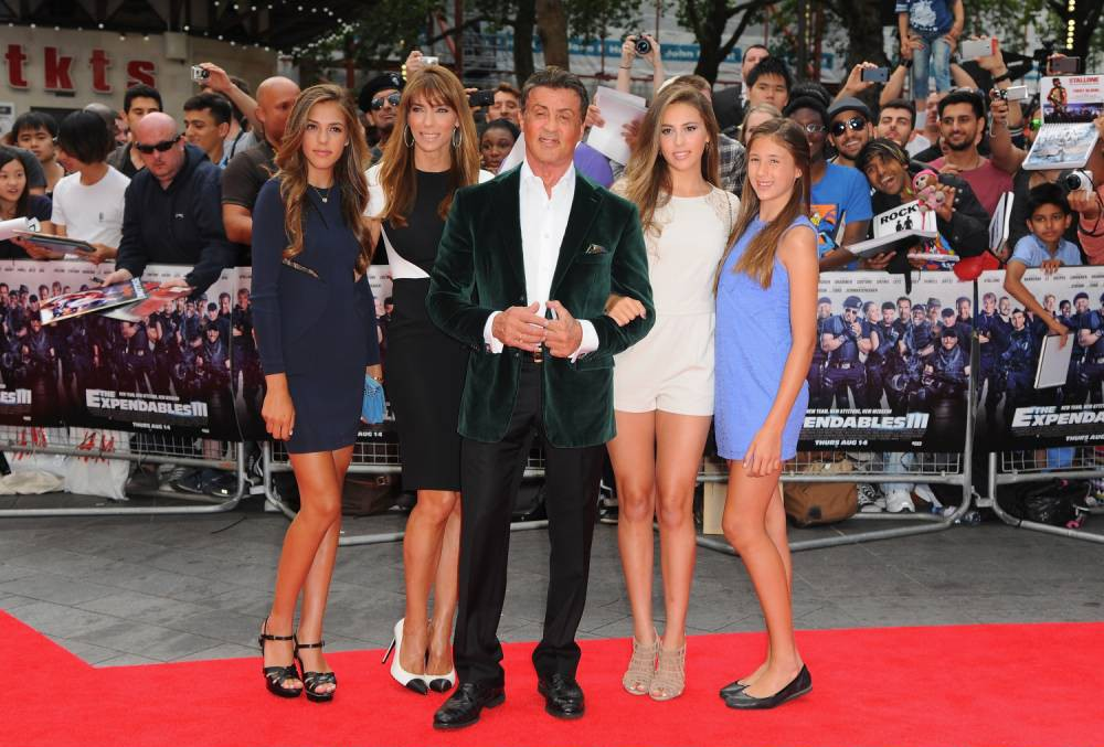 "LONDON, ENGLAND - AUGUST 04:  Sylvester Stallone and family attend the World Premiere of ""The Expendables 3"" at Odeon Leicester Square on August 4, 2014 in London, England.  (Photo by Eamonn M. McCormack/Getty Images)"