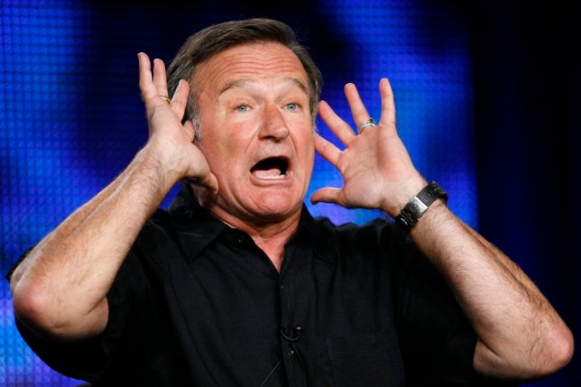 "Robin Williams gestures during a panel discussion for his HBO show ""Robin Williams: Weapons of Self-Destruction"" at the Television Critics Association Cable summer press tour in Pasadena, California, in this file picture taken July 30, 2009. Oscar-winning actor and comedian Robin Williams was found dead on August 11, 2014 from an apparent suicide at his home in Northern California, Marin County Sheriff's Office said. He was 63.      REUTERS/Mario Anzuoni/Files   (UNITED STATES - Tags: ENTERTAINMENT OBITUARY)"