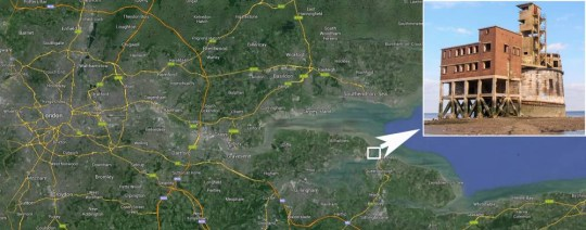 With a 'nice speedboat' commuting into central London is estimated around 45mins (Picture: Google maps/SWNS)