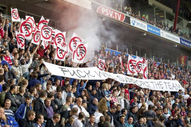 protest fans of PSV supporters Fuck WIFI Support the team during the Dutch Eredivisie match between PSV Eindhoven and Nac Breda at the Phillips stadium on August 16, 2014 in Eindhoven, The Netherlands(Photo by VI Images via Getty Images)