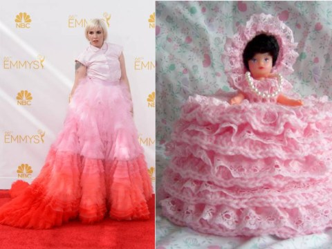Lena Dunham sort of looked like one of those loo roll dolls at last night's Emmys
