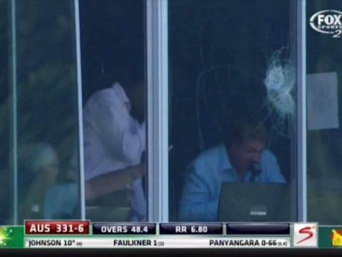 Australia's Mitchell Johnson smashes commentary box with huge six against Zimbabwe