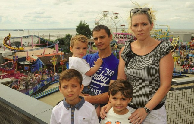 Darren and Lynzie Riggs-Long and their three kids Kieran, ten, Lewis, six, and three-year-old Jack (Picture: Cascade News)